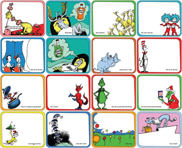 Dr. Seuss Food Label DIY Set of 40 PDF Form Dr Seuss