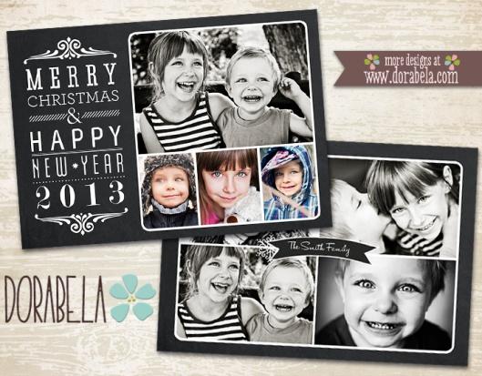 Chalkboard Christmas Photo Card Template for Photographers