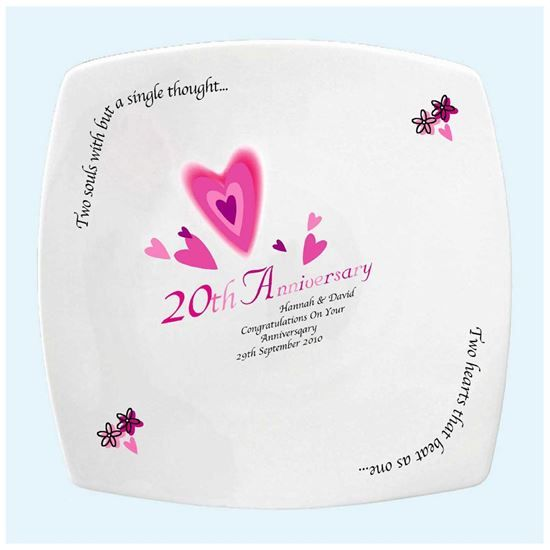Two Hearts Beat As One Wedding Anniversary China Plate 27 95