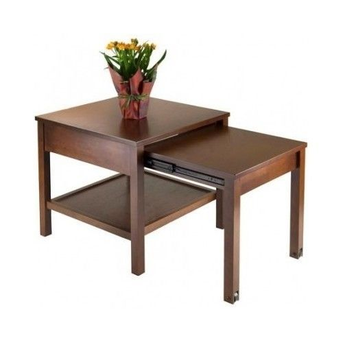 Expandable Table End Wood Tv Tray Food Dining  Living Room Night Stand  Brown  #Traditional