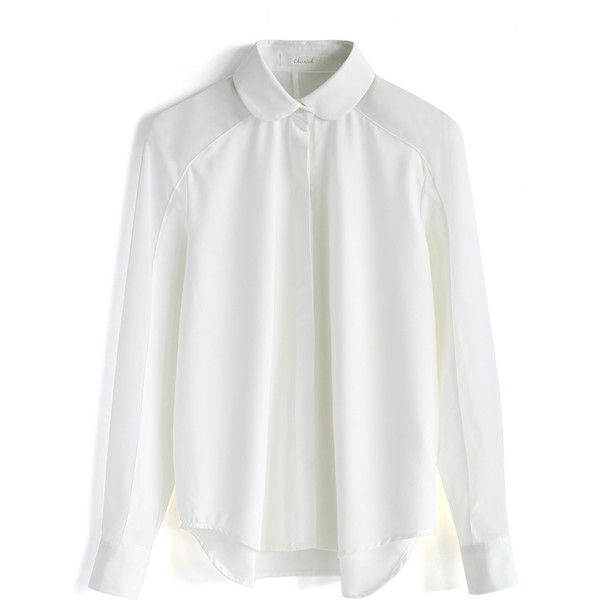 Chicwish Simple White Shirt with Sheer Panel ($38) ❤ liked on Polyvore featuring tops, blouses, shirts, white, white top, white shirt, white collar shirt, sleeve shirt and shirts & tops