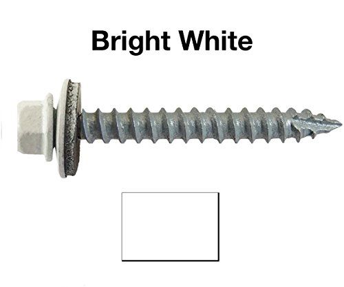 Cheap 14 Metal ROOFING SCREWS: (250) Screws x  BRITE WHITE Hex Head Sheet Metal Roof Screw. Self starting/tapping metal to wood sheet metal siding screws ~ EPDM washer ~For corrugated roofing on sale 2017