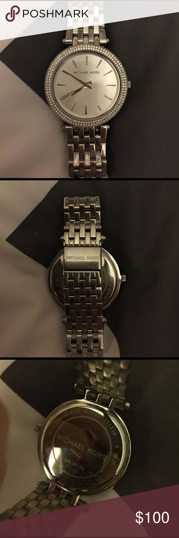 Michael Kors Silver Watch! Very Stylish Authentic Michael Kors Silver Watch! This was my go to watch for awhile but since I got the Apple Watch It just sits on my jewelry rack. Excellent condition! Beautiful classic design goes with just about anything! KORS Michael Kors Accessories Watches