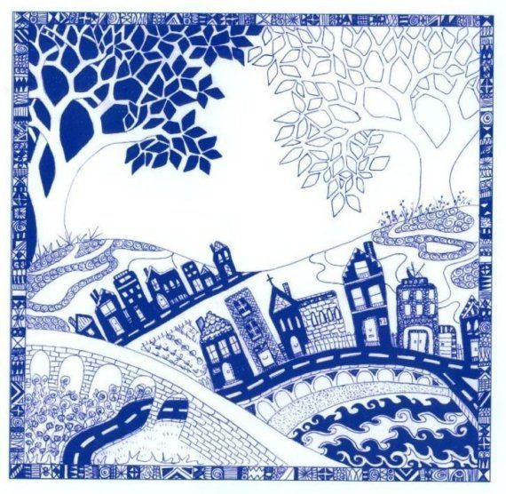 Where the trees meet blue and white illustrated print