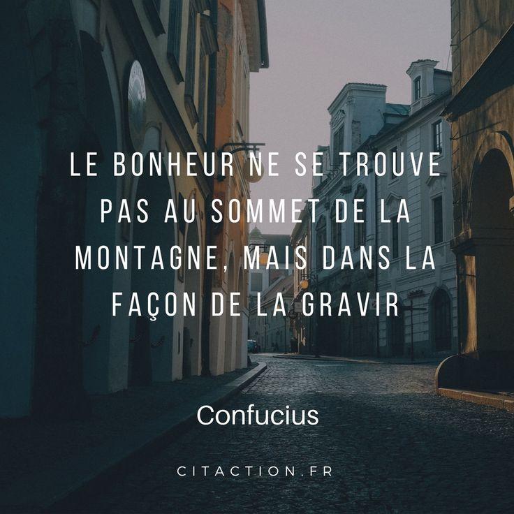 Le bonheur ne se trouve pas au sommet de la montagne, mais dans la façon de la gravir.    Confucius