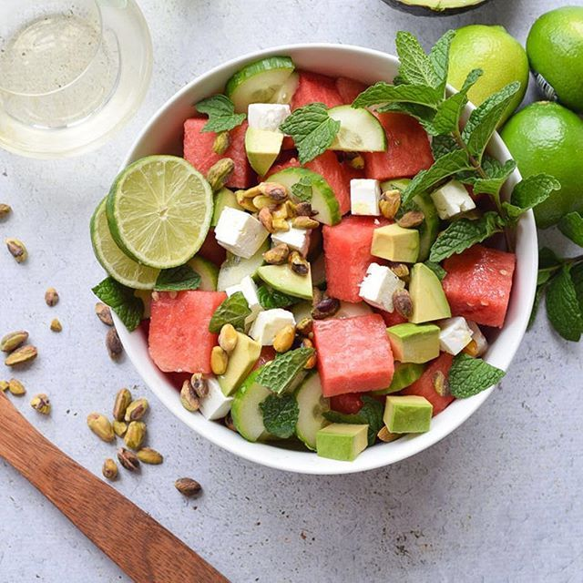 This Watermelon Feta and Cucumber Salad is the perfect way to celebrate a warm and sunny summer day, especially when you pair it with a light glass of wine. This healthy salad is full of watermelon, cucumber, feta, avocados, and mint. {gluten free} #ad #nationalpinotgrigioday @cavitwines ⠀ Click my link in profile for recipe or here https://www.seasonalcravings.com/watermelon-feta-and-cucumber-salad/⠀ ⠀ #bhgfood #thektchn #f52grams #feedfeed #eeeeats #realfood #eatingfortheinsta…