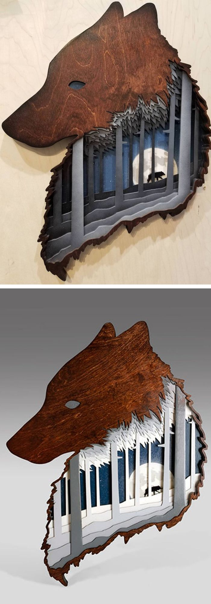 Artist Jason Pancoast hand-makes layered wood art and shadow boxes that depict whimsical, nature-inspired narratives.