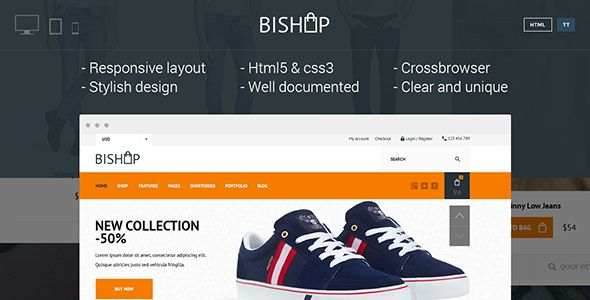 Bishop - Elegant & Clean Shop Template #webdesign #website #design #responsive #besttemplates #template #SiteTemplates #Retail #Shopping
