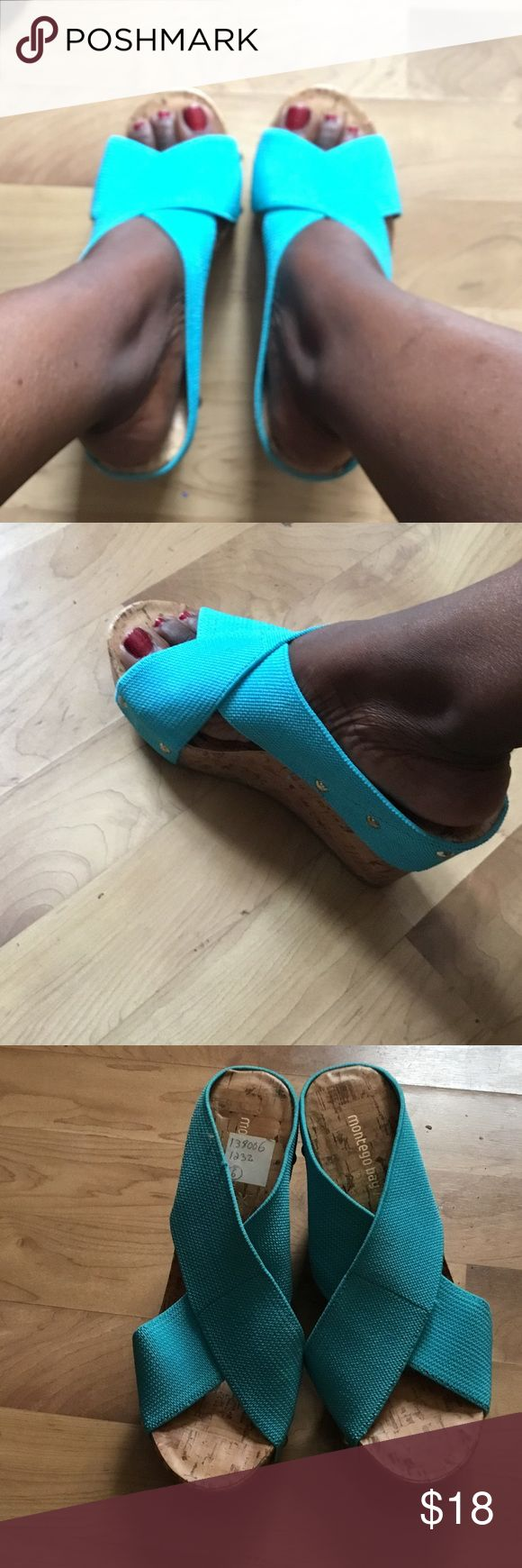 Turquoise wedges Great condition wedges Montego Bay Club Shoes Wedges