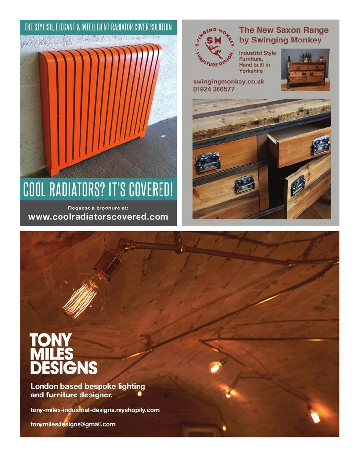 Warehouse Home Issue Three | Cool Radiators | Swinging Monkey | Tony Miles Designs | Radiator covers | Industrial furniture | British designs | British interior designers | Interior design | Industrial lighting | Warehouse lighting | Design magazine | Design ideas