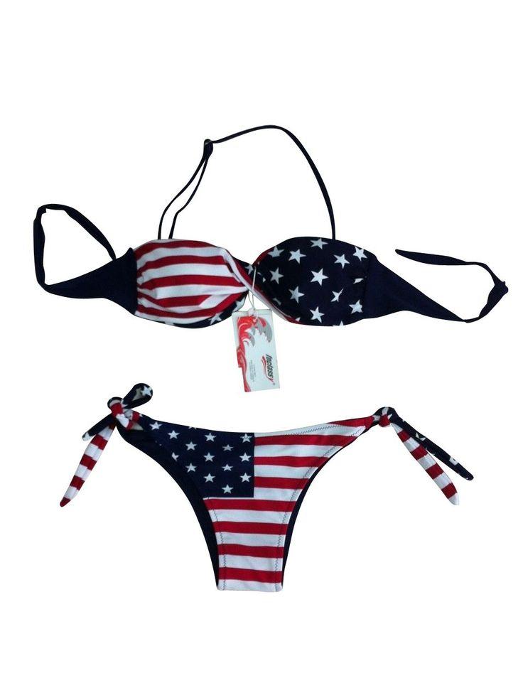 Foclassy Women'S Push Up Padded Bra Bikini With American Flag Design For Sale