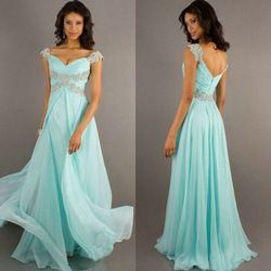 Online Shop Free Shipping Mint Color Chiffon Sweetheart Cheap Price Cap Sleeve Prom Dress Long Evening Gowns 2014|Aliexpress Mobile