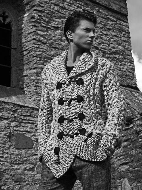 Mens chunky knit toggle detail cardigan chunky.sweater ...