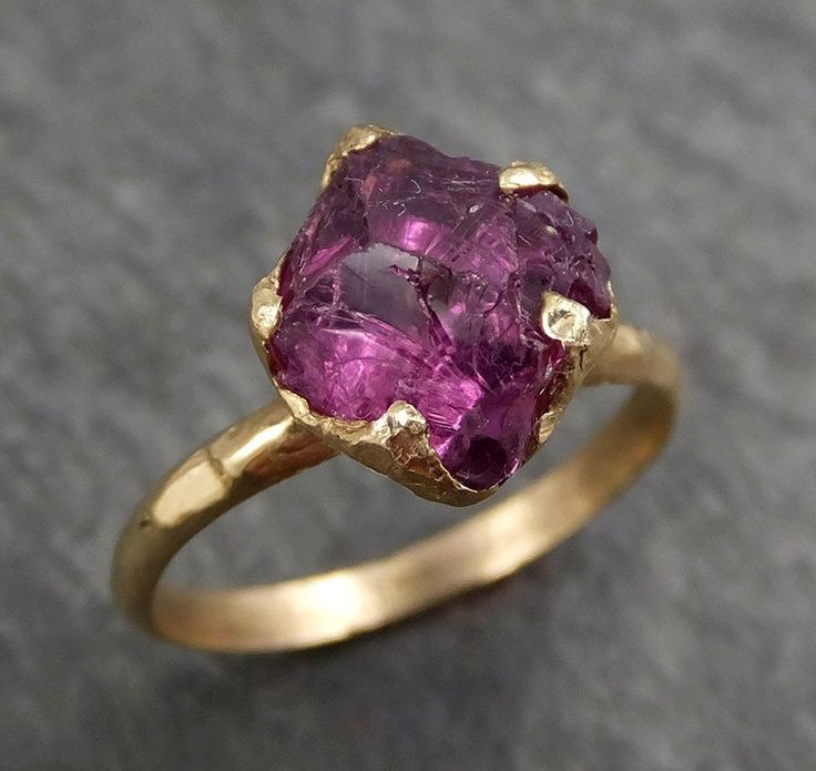 Rough Raw Natural Pink Pyrope Garnet Gemstone ring Recycled 14k Gold One of a kind Gemstone ring byAngeline 0388