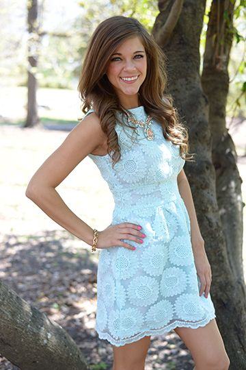 "EEK! This light blue beauty is SO CUTE! The flawless fit is made even better by the lacy sunflowers! This would make such a perfect Easter dress! Fits true to size. Miranda is wearing the small. Shoulder to hem: S - 32"" M - 32.5"" L - 33"""