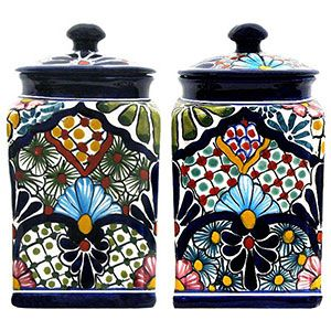 Mexican decor: Mexican talavera canisters