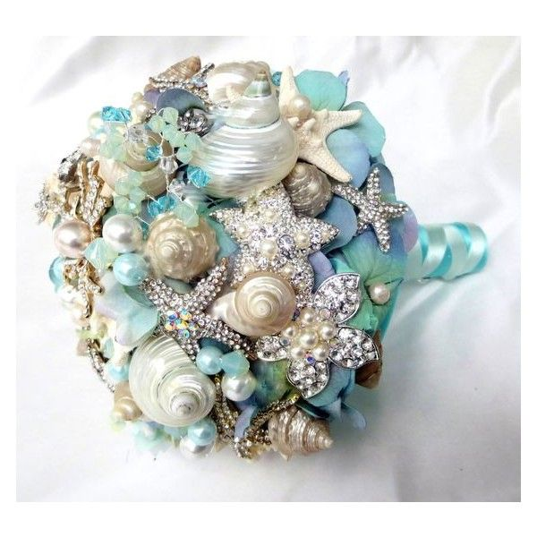 Sea Shell Wedding Bouquet, Tiffany Blue Bridal bouquet, Beach Bridal... ❤ liked on Polyvore featuring jewelry, brooches, seashell jewelry, beachy jewelry, bridal brooch, sea shell jewelry and bridal jewelry