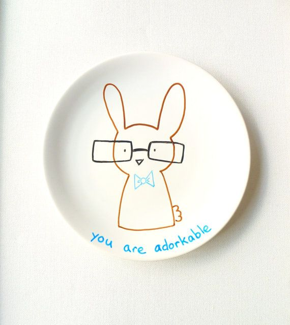 You are Adorkable Decorative Plate Adorable Nerd by StudioFroezel, €15.00