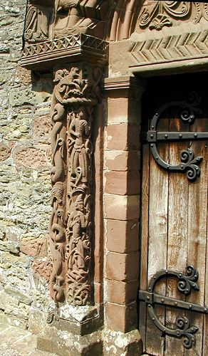 Norman doorway: the Church of St Mary and St David is a Church of England parish church at Kilpeck in the English county of Herefordshire, about 5 miles from the border with Monmouthshire, Wales. It is famous for its Norman carvings.
