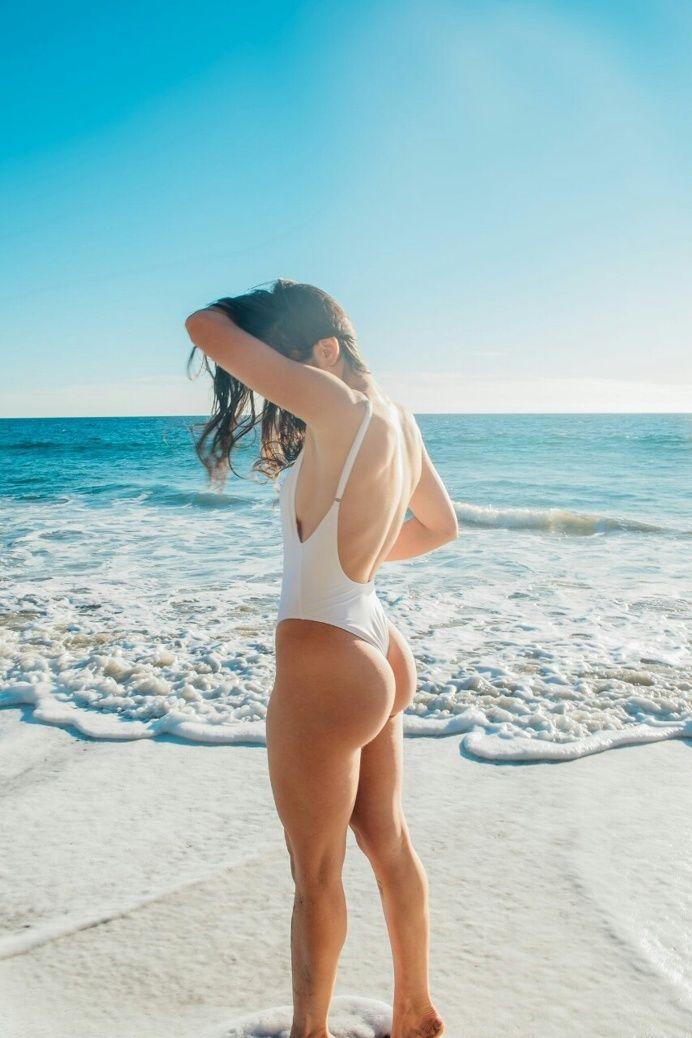 white swimsuit woman curves audrey bradford butt