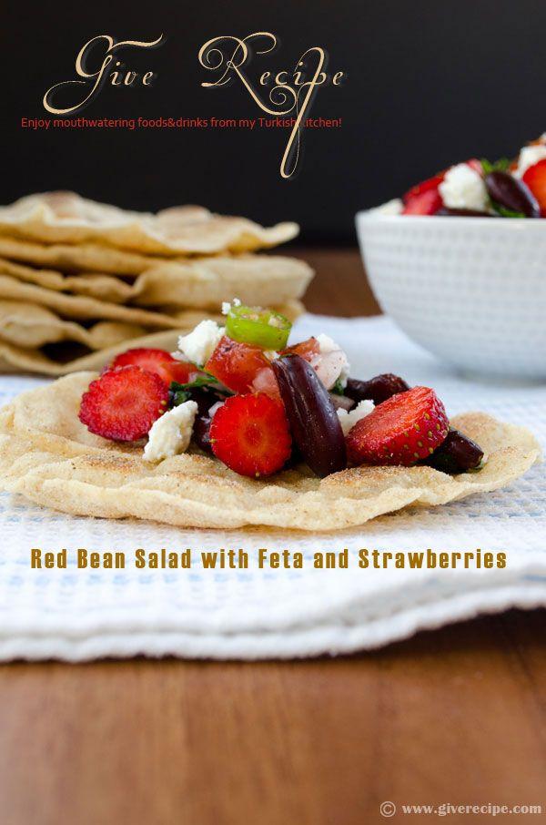 Red Bean Salad w/ Feta & Strawberries #bean #salad #strawberries @Zerrin Gunaydin | GiveRecipe