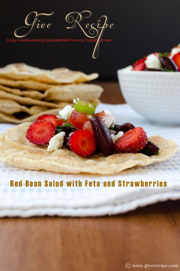 Red bean salad with feta and strawberries. Serve it on homemade whole wheat mini tortillas!   giverecipe.com   #salad #vegetarian #strawberry