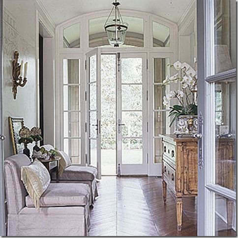 French doors to office off of foyer instead of clear for French doors without windows