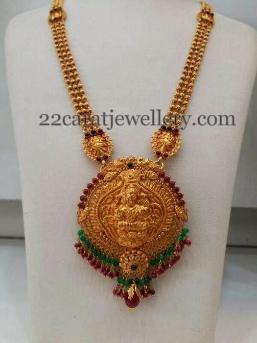 Jewellery Designs: Antique Long Chain with Lakshmi