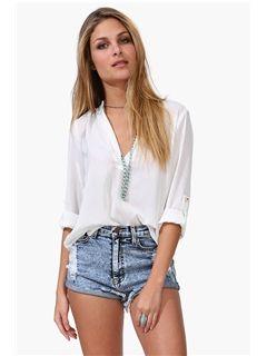 White V Neck Long Sleeve Chiffon Loose Blouse - Fashion Clothing, Latest
