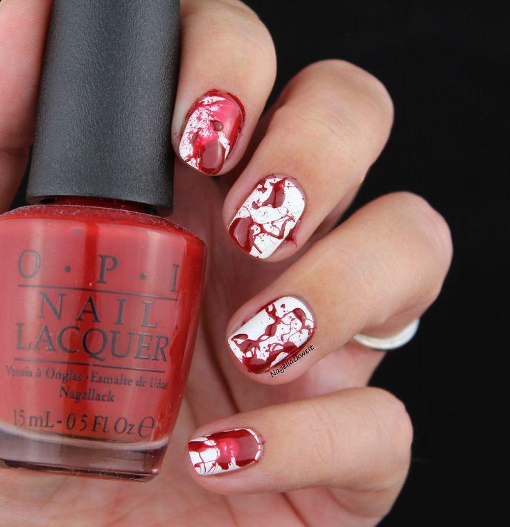 Splatter Nails - ein perfektes Halloween Nageldesign.