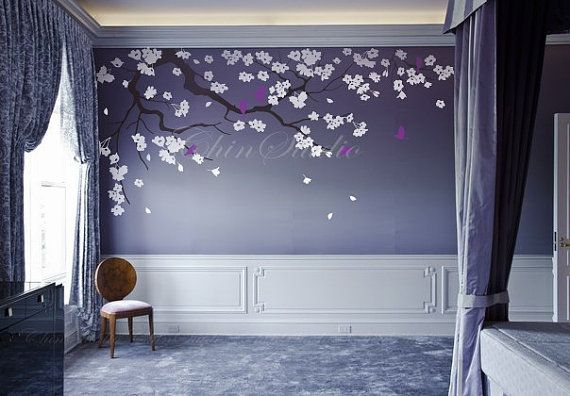 Nursery wall decals cherry blossom tree decal with butterfly for master room large tree decal office decal