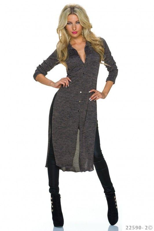 Grijze maxi dress  met een opvallende dubbele split