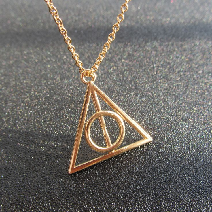 Harry Potter Necklace-Luna and The Deathly Hallows Necklace Retro Sweater Chain Triangle Pendant Necklace