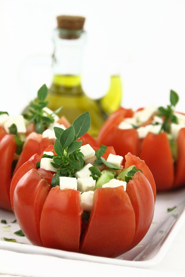Tomatoes filled with mini Greek salad & Olive Oil from Syros island