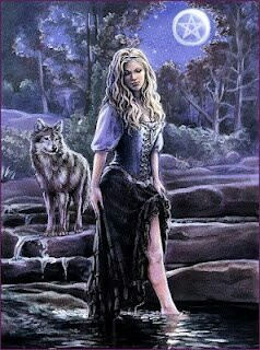Aradia... italian goddess of love and peace... her familiar is the wolf Or Aradia, queen of witches. Daughter of Lucifer god of light and Diana goddess of the moon.