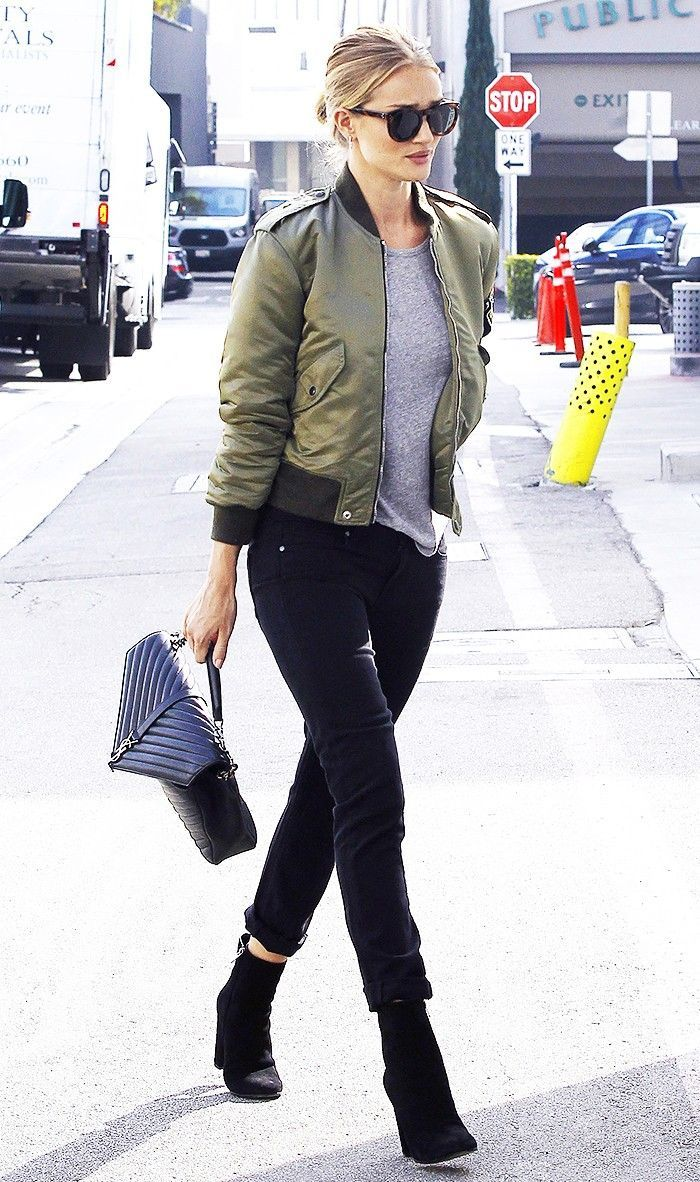 Here S How Celebs And It Girls Alike Are Wearing Bomber Jackets Bomber Jacket Street Style Jacket Outfit Women Bomber Jacket Outfit Street Style [ 1182 x 700 Pixel ]