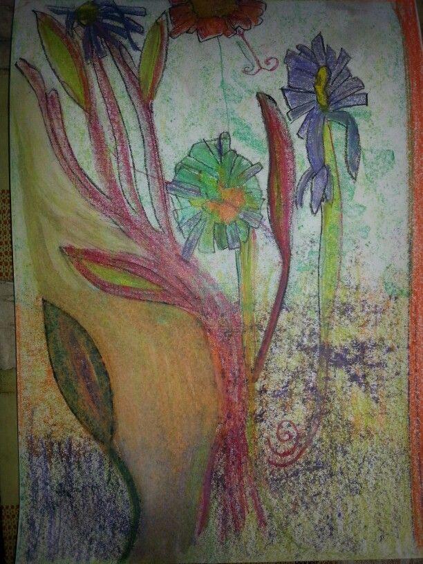 Virágok. Flowers. Oil pastell; A4 paper. Artist: Balogh Krisztina.