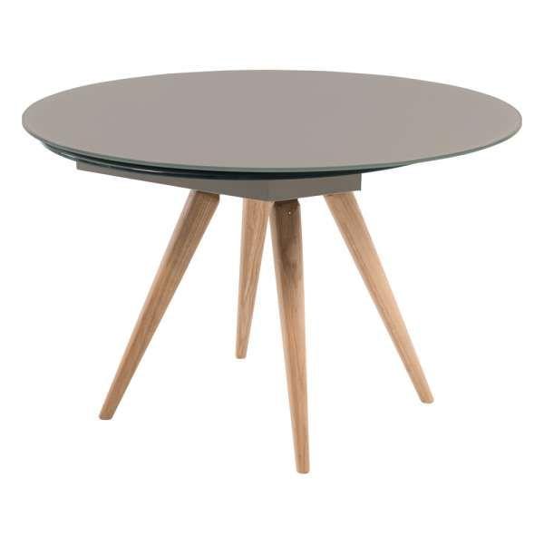 Table Ronde Moderne En Verre Et Bois Avec Allonges Demi Lune Myles Table Ronde Extensible Salle A Manger Bois Table Design