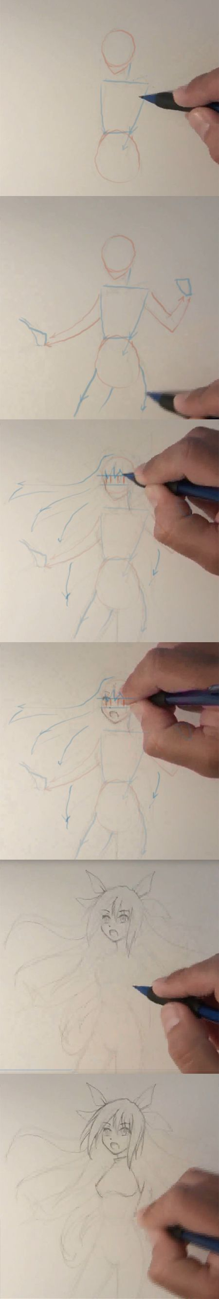 how to draw anime girl step by step