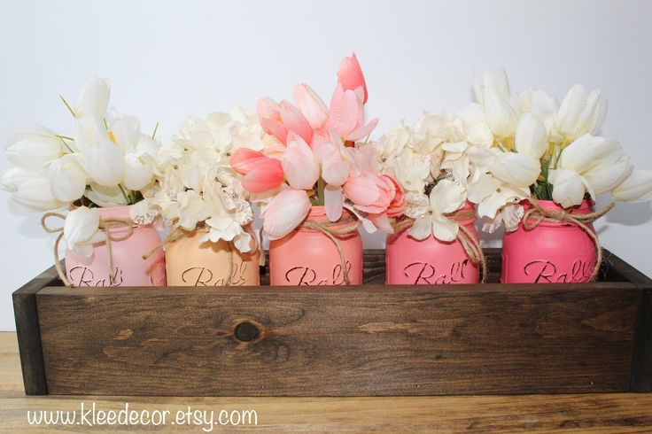 Wooden Planter Box Centerpiece, with handpainted distressed mason jars. Available at  www.kleedecor.etsy.com