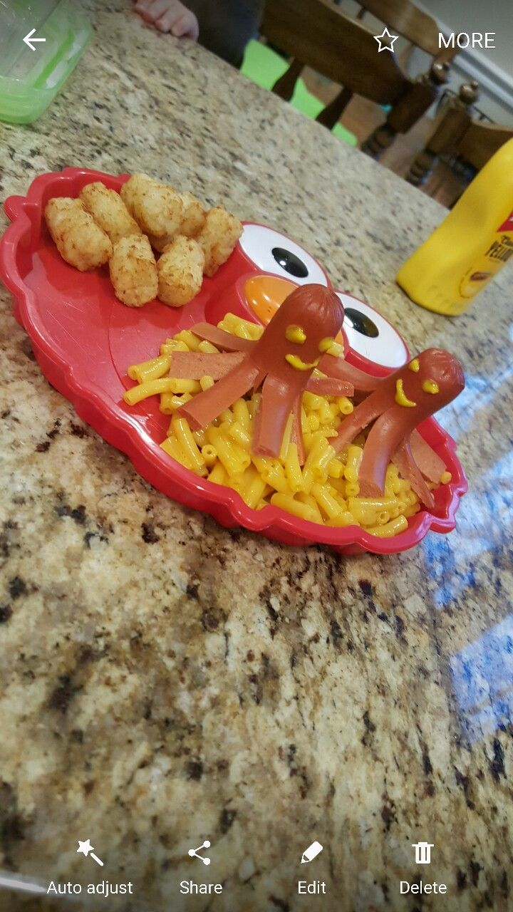Octopus hotdog and Mac and cheese dinner