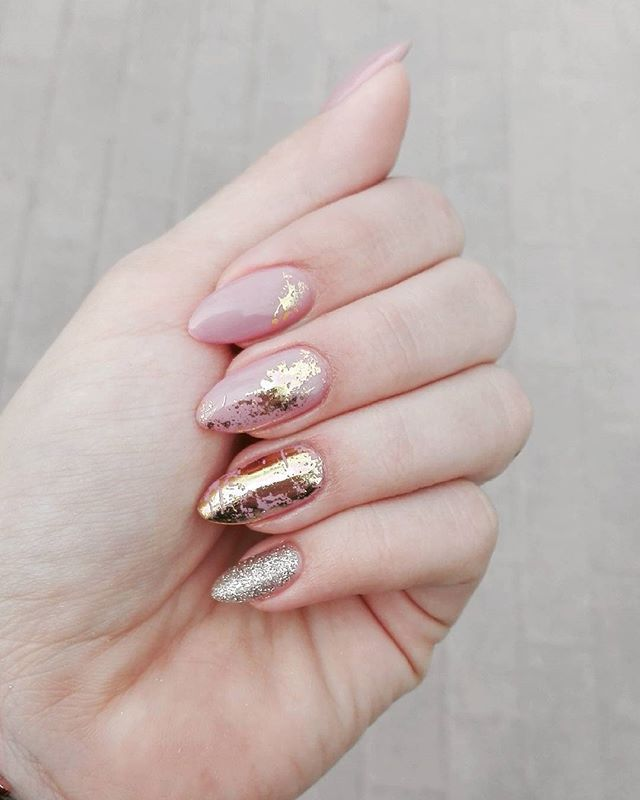 #hybrydowenails #nails #gold #beauty #pink #nude #semilac #classylady #polishgirl
