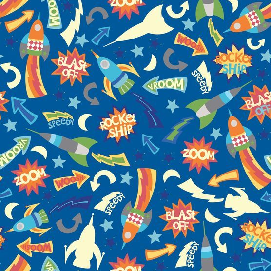 Novelty cotton fabric glow in dark rocket ships at joann for Space baby fabric