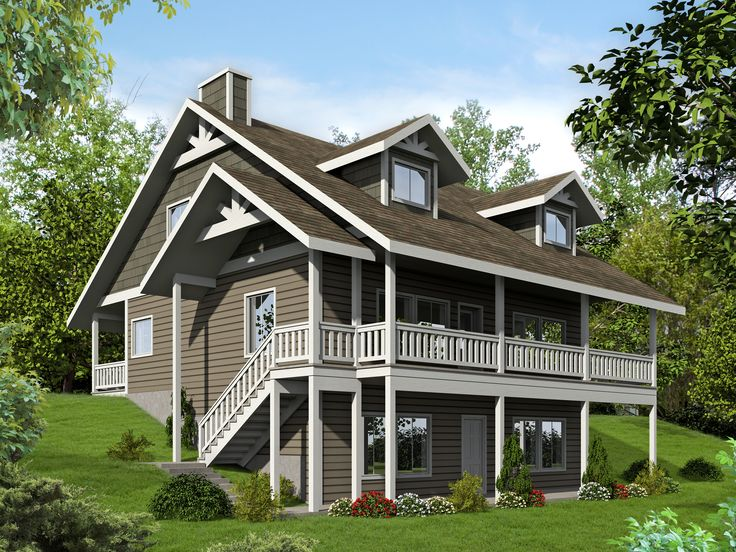 Plan 35507gh porches front and back walkout basement for Waterfront home plans sloping lots