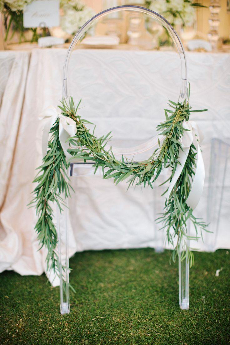 Olive-Leaf Garland Wedding Reception Ghost Chair