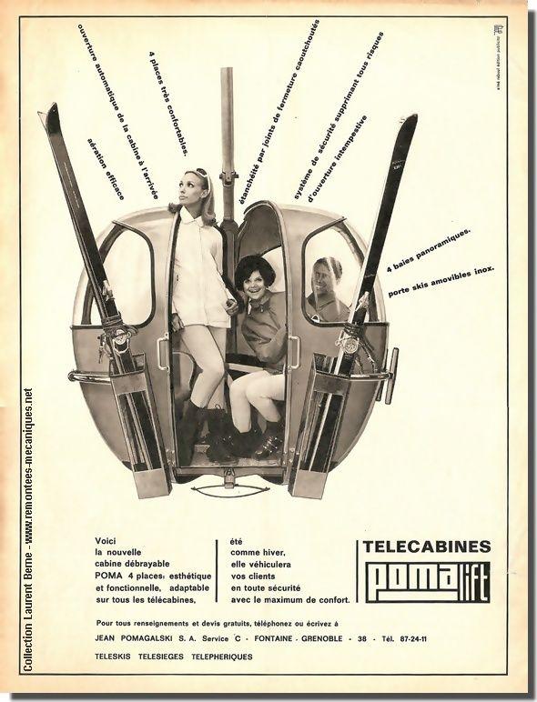 """Plaquette publicitaire 1967 de la firme grenobloise Pomagalski arborant l'ancien logo """"Pomalift"""""""