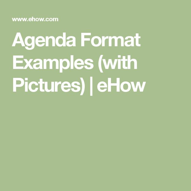 Agenda Format Examples (with Pictures) | eHow