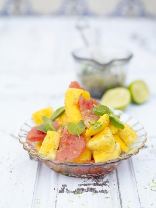 mojito fruit salad | Jamie Oliver (watermelon, mango, pineapple, mint, lime juice & white rum)