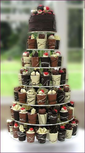 Wedding cake alternatives...Scrumptious!! Chocolate cups with sponge cake & truffle fillings!