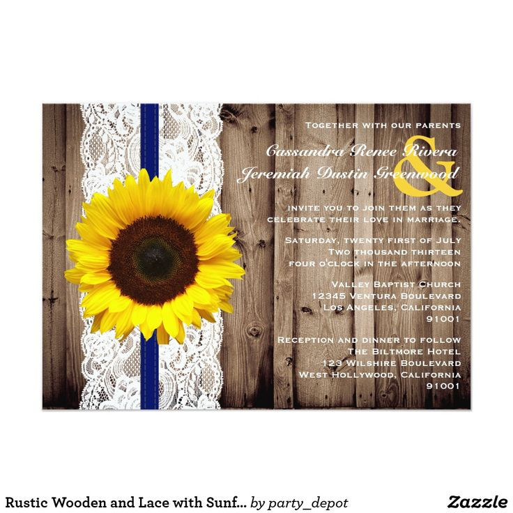 bed bath and beyond wedding invitation kits%0A Rustic Wooden and Lace with Sunflower Wedding